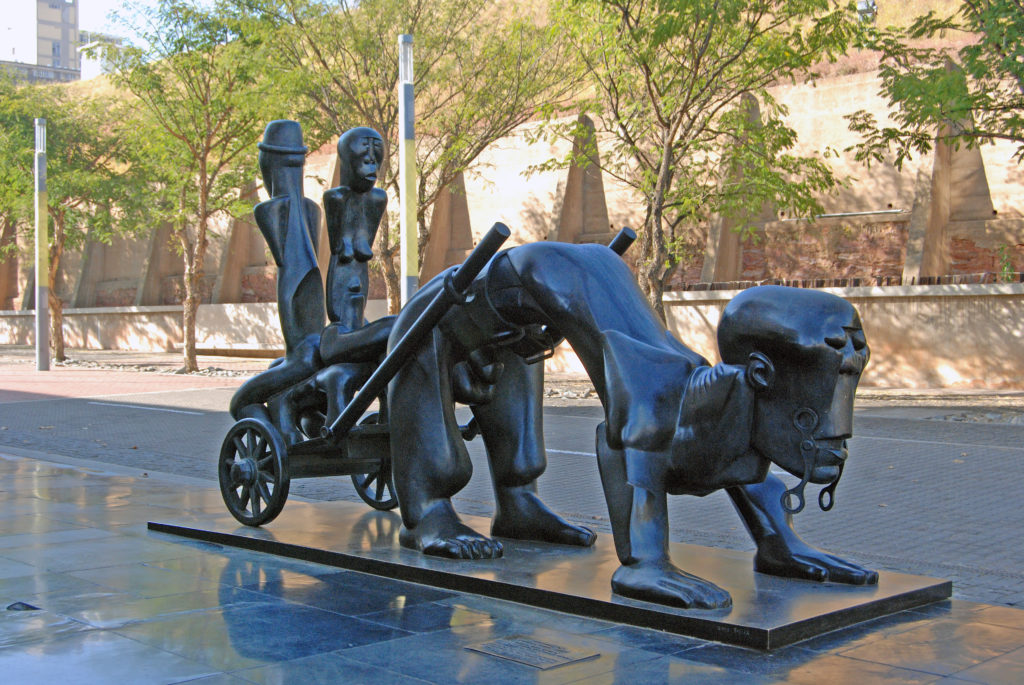 A Dumile Feni (1942 -1991) sculpture in front of the South African Constitutional Court. Photo Credit: Harvey Barrison- Flickr.