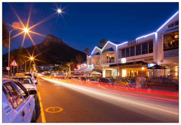 Camps Bay strip at night.