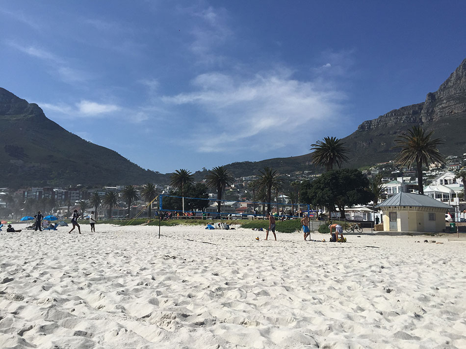 On the beach at Camps Bay.